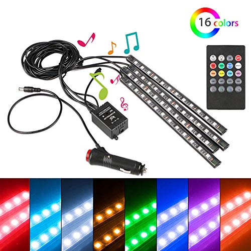 4PCS 48 LED Multicolor Car LED Strip Lights Interior Atmosphere Decorative Bar Lights with Sound Active Function and Wireless Remote Control