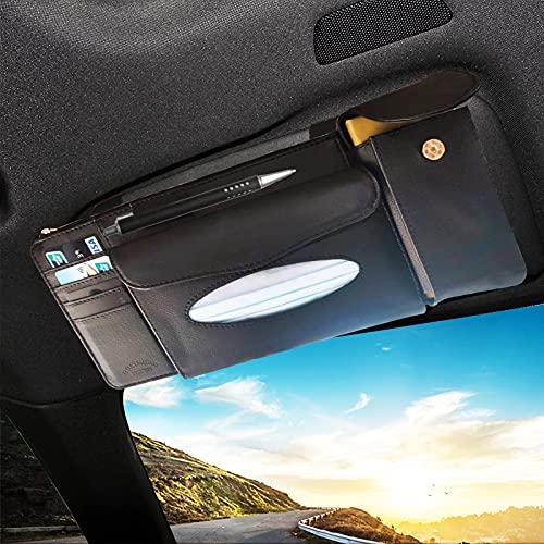 YIVIYAR Car Tissue Holder, Car Visor Organizer Sun Visor Napkin Holder PU Leather Backseat Tissue Case Storage Pouch Holder for Cards, Pens, Sunglasses, Paper Towels and Document Holder (Black)