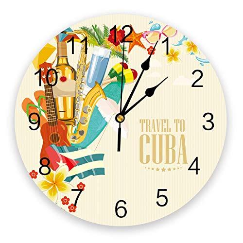 Runde Wanduhr, Nicht tickende stille Wandbehang Reise nach Kuba Gitarre mit Blumen Seestern und Flip Flops auf Vintage Hintergrund Wanddekoration für Küche, Wohnzimmer, Schlafzimmer 10 Zoll