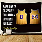 F-FUN SOUL Basketball Culture Tapestry, Large 80x60inches Soft Cotton, Mens Retired Number 8 24 Mamba Mentality Art Wall Hanging Tapestries for Living Room Bedroom Decor Banner GTZYFS797