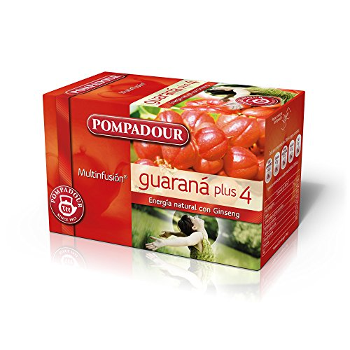 Pompadour Té Infusion Guaraná Plus 4 - Pack de 5 (Total: 100 bolsitas)