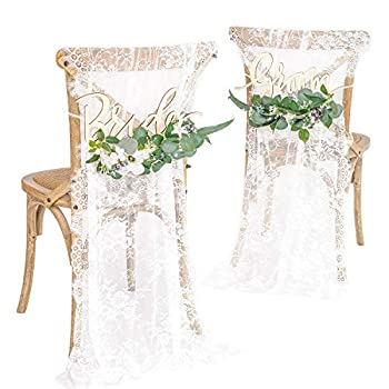 Ling's Moment Wedding Chair Signs Wedding Reception Chair Decor Bride and Groom Chair Signs Set of 2 Floral Wedding Decorations Rustic Boho
