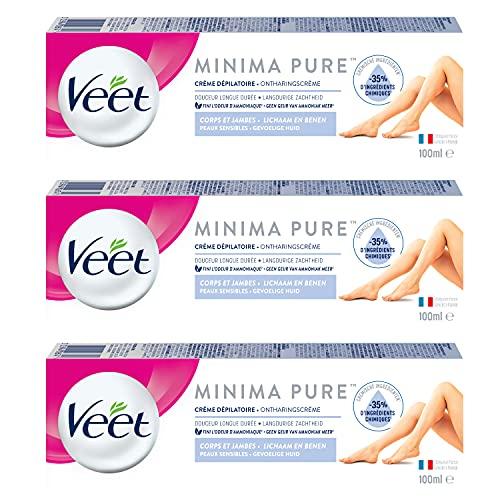 Veet Crème Dépilatoire Minima - Douceur Longue Durée Après Epilation- Peaux Sensibles - Tube 100ml (Lot de 3)