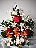 roselynexpress Composition de Fleurs artificelles lesté Totalement Ciment en jardinière, pour cimetière. Réalisé par nos Soins, Fleurs de très Bonne qualité.