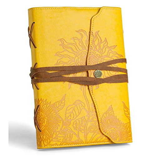 Writing Journal for Women - Beautiful Journals to Write in - Faux Leather Bound Diary (5.5''x8.1'') - Lined Writers Notebook - Sunflower Gifts for Women -Vintage Journal Gift for Teachers
