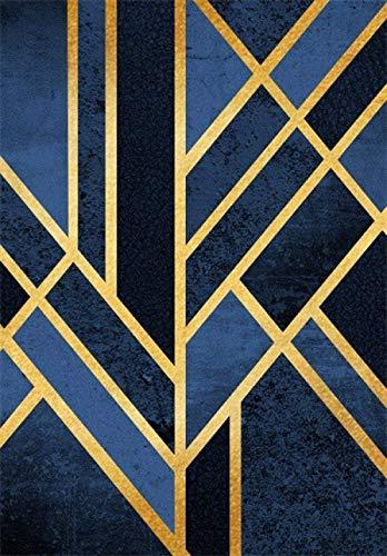 Modern Tapijt Woonkamer korthaar Vinyl Rug Art Geometric Traditionele Navy Black Gold Extra Large/Medium/Kleine Rug Carpet Kamer Child Geluidsabsorberende Deco tapijt 200 x 300cm, Afmetingen: 160