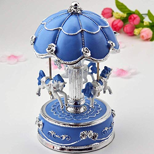 ccfgh Illuminated Carousel Music Box Castle In The Sky Child Girl Birthday Gift Decoration Pink (Color : Blue)