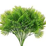 NAHUAA 4PCS Artificial Plants Fan Palm Leaf Plastic Artificial Grasses Simulation Greenery