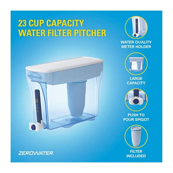 ZeroWater ZD-018 ZD018, 23 Cup Water Filter Pitcher with Water Quality Meter 5 Included Components: Zerowater Zd-018 23-Cup Water Dispenser And Filtration System;Electronic Tds Water Testing Meter;1- Zerowater Filter Cartridge That Removes Contaminants That Cause Water To Have An Unpleasant Taste