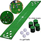 2-FNS Putting Green Golf Beer Pong Game Set, Golf Green Putting Beer Pong Mat with 4 Golf Balls,Golf Training Mat for Indoor Outdoor (Black)