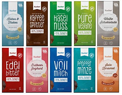 Xucker - Probierset | 10 Schokoladen-Tafeln | mit Xylit (4 x 100g, 6 x 80g)