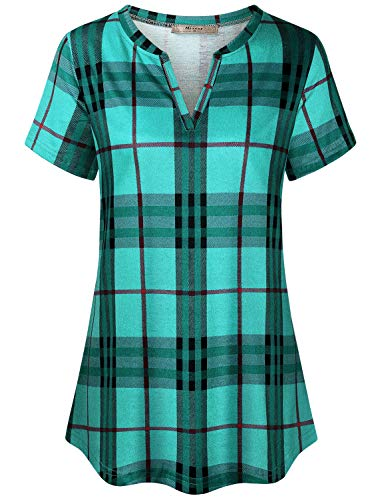 Miusey Buffalo Plaid Shirt Womens,Ladies Notch V Neck Checkered Tops Flattering Curved Hem Fit Softness Perfect Relaxed Outdoor Activities Green M