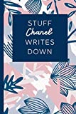 Stuff Chanel Writes Down: Personalized Journal / Notebook (6 x 9 inch) STUNNING Navy Blue and Mauve Blush Pink Pattern