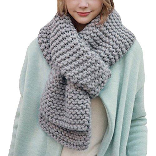 Hownew-X Damen Strickschal Lang XXL Warme Grobstrick Schal Oversize Winterschal, 190 x 32cm (One Size, Grau)