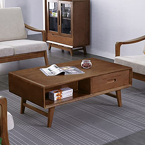 XIAOPENG Mesa de centro clásica de Farmhouse, mesa de centro de la sala de estar familiar con cajones, color de nogal de madera maciza