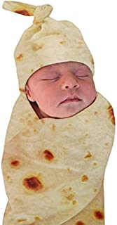 Burrito Swaddle Blanket Tortilla Baby Blanket and Hat, 34 inch Soft Flannel Baby Burritos Safe Shower Blanket