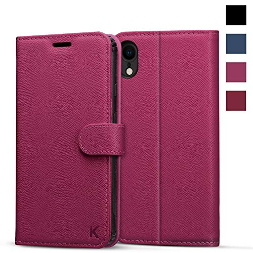 KILINO iPhone XR Wallet Case [Saffiano Leather][RFID Blocking] [Shock-Absorbent Bumper] [Card Slots] [Kickstand] [Soft TPU] [Magnetic Closure] Flip Folio Cover for iPhone XR - Magenta