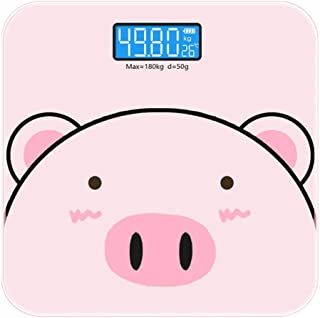 YQSHYP Weight Scale, Blue Backlight LCD Display, High Accuracy Skidproof Digital Body Weight Bathroom Scale, Electronic Scale with Step-On Technology, 180kg Capacity, Pink