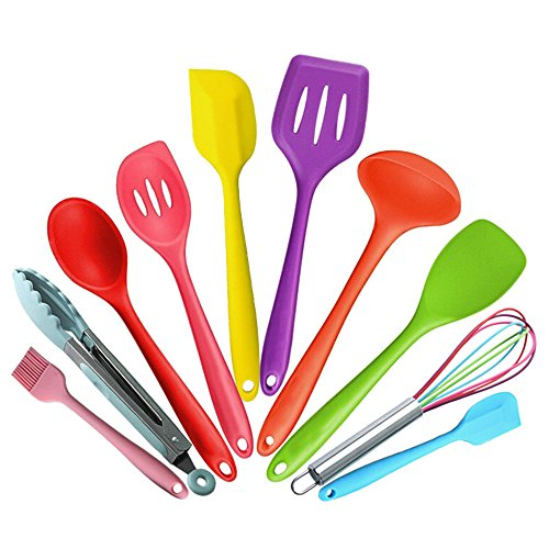 10 Pieces Colorful Cooking Utensils Set Silicone Non-Stick and Heat Resistant