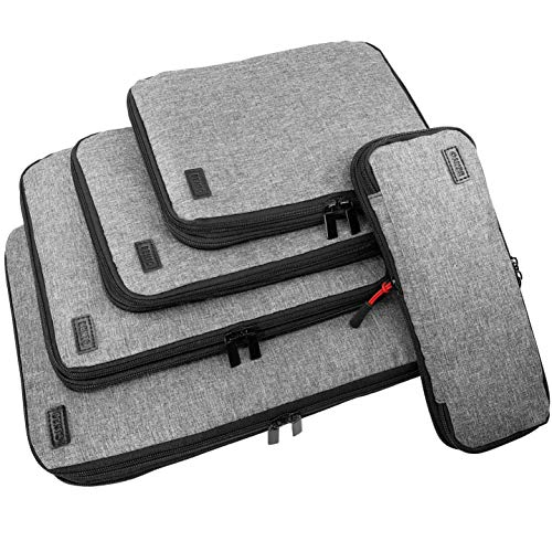 Compression Packing Cubes for Travel, Packing Cube Set (Grey, 5 Piece Set)