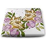 Seat Cushion Comfort Memory Foam Seat Tattoo Art Fox Flowers Drawn Style Chair Pad,Washable, Office, Home Or Car Sitting with Soft Padded Cushion