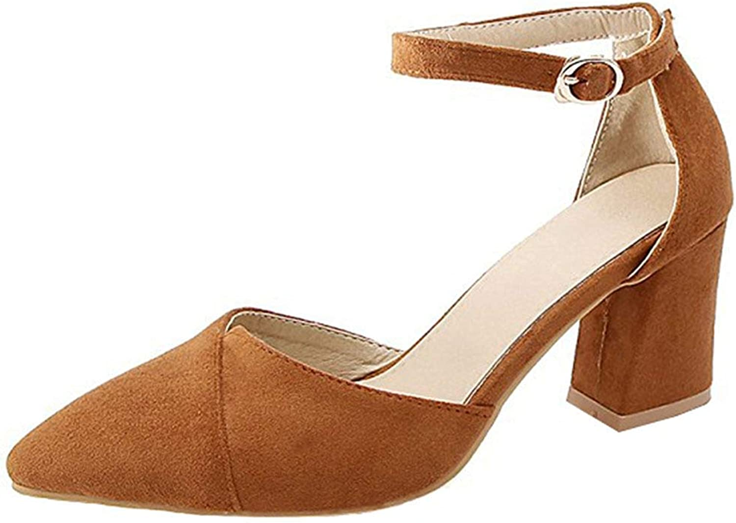 Gcanwea Women's Fashion Faux Suede Buckle Ankle Strap Pointed Toe Block High Heels Sandals No Grinding Feet Smart to Wear with Dress Comfortable for Girls for Woman Brown 7 M US Sandals