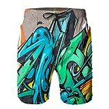 Throwpillow Uomo Surf Spiaggia Pantaloncini Bellissimo Colore Astratto Graffiti di Arte di Strada Coulisse e Asciugatura Rapida Calzoncini da Bagno Nuoto-2XL