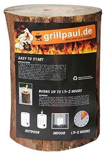 Grillpaul Gartenfackel | Lagerfeuer | Schwedenfeuer | Baumstammfackel | Finnenfeuer inkl. Anzünddocht | Ø 9-14cm / Höhe 20cm |