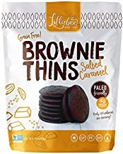 Lillabee Brownie Thins Salted Caramel, Paleo Friendly, Gluten Free, Low Carb, Healthy Snacks, High Protein, Crunchy Cookies , Grain free, No Dairy, No Soy 4oz bag (3 Pack)