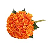 Tifuly Artificial Hydrangea Flower, 5 PCS Ramos de hortensias de Seda de Tallo Largo para Bodas, hogar, Hotel, decoración de Fiestas, centros de Mesa(Naranja)