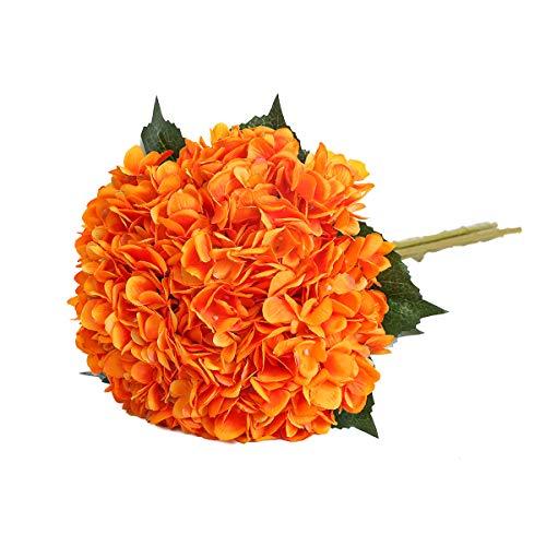 Tifuly künstliche Hortensie-Blume, 5 PCS realistische einzelne Lange Stamm-Silk Hydrangea-Blumensträuße für Hochzeit, Haus, Hotel, Parteidekoration, Blumengesteck(Orange)