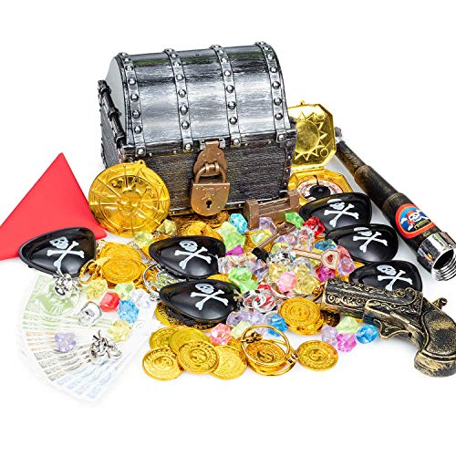 Pirate Treasure Chest Costume Accessories-Large Pirate Toy Box with locks Pirate coins Gems Pirate Party Supplies with Red Hood,Pirate Gun, Eye-Patches, Swords, Telescope,Rings, Earrings,Badge