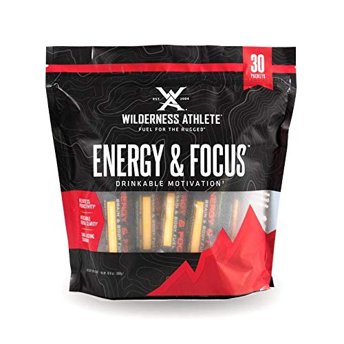 Wilderness Athlete: Energy & Focus, Powder Energy Drink Mix, Tropical Fusion, 30Count Single Serving Packets, Low-Carb, Zero Sugar, No Crash, Natural Caffeine from Green Coffee Bean