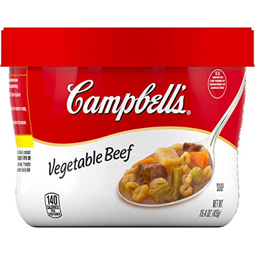 Campbell'sVegetable Beef Soup Microwavable Bowl, 15.4 oz. (Pack of 8)