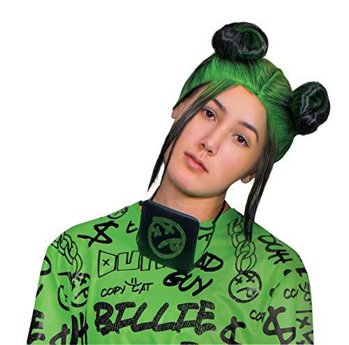 Disguise Women's Billie Eilish Double Bun Wig Costume Accessory, Green, Adult Size