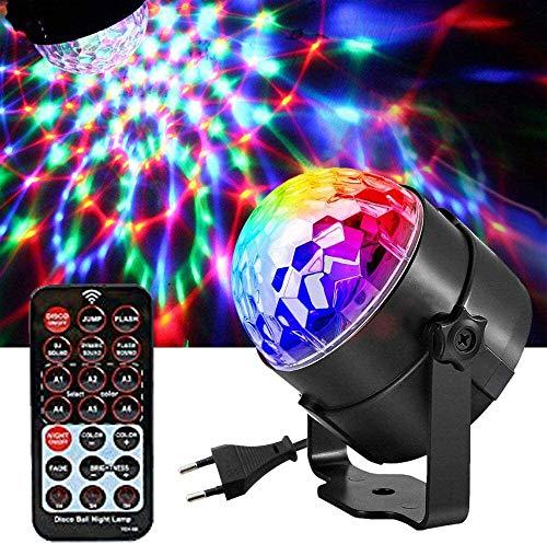 Bola Discoteca Luces, Ausein Mini Magia de cristal Bola, Luz del Disco, RGB LED Lámpara de Etapa Rotación para Fiesta Familiar Festival Disco Cumpleaños Bar Club