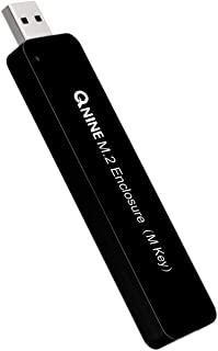 QNINE NVME Enclosure (No Cable Needed), M.2 NVME USB 3.0 Adapter with Case, Based on 10Gbps JMS583 Bridge Chip, Use as Por...