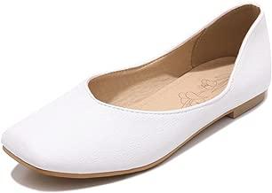 IDIFU Women's Comfy Ballerina Low Top Slip On Square Toe Dance Flats Shoes