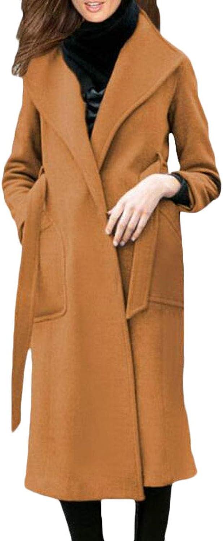 CRYYU Women Solid Belt Lapel Woolblend Mid Long Winter Pea Coat