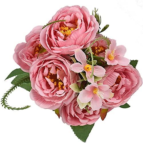 YYHMKB Flores de Seda de peonía Artificial Peonías Falsas Ramo Vintage Centros de Mesa para el hogar Decoración de la Boda (Púrpura) Rosa