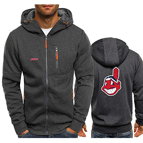GMRZ MLB Herren Hoodie, Kapuzenpullover Mit Cleveland Indians Logo Design Major League Baseball Team Sweatshirts Fans Jerseys Liebhaber Hoody Pullover,A,XXXL