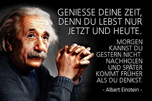 Schatzmix Albert Einstein - Geniesse Deine Zeit, denn du lebst nur jetzt und Heute. Spruch Metal Sign deko Schild Blech Garten