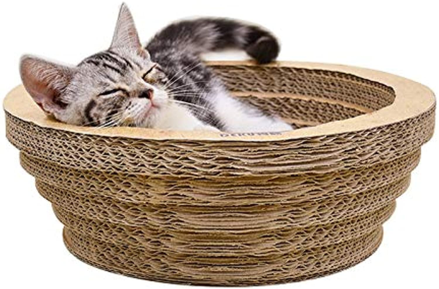 Cat Bed or Sofa hyx CP-090 Bowl-Shaped Corrugated Paper Cat Scratch Board Cat Litter Grinding Claw Toy, Outer Diameter  39.5cm