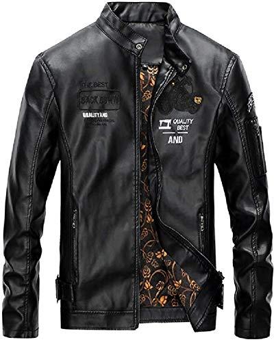 Men Slim Faux Pu Leather Motorcycle Biker Winter Stand Collar Coat Jacket