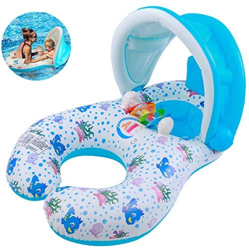 Myir Baby schwimmring, Kinder Schwimmsitz mit abnehmbarem Sonnenschutzdach Schwimmring Kinder Schwimmbad Doppel schwimmring