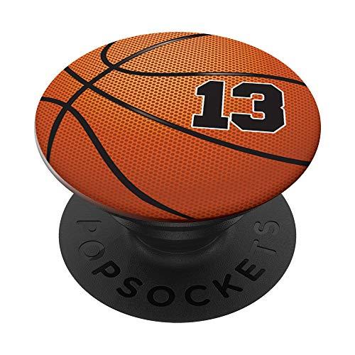 Basketball Fan #13 Trikot Nr. 13 Basketball Pop Griffe Gift PopSockets PopGrip: Ausziehbarer Sockel und Griff für Handys/Tablets mit Tauschbarem Top