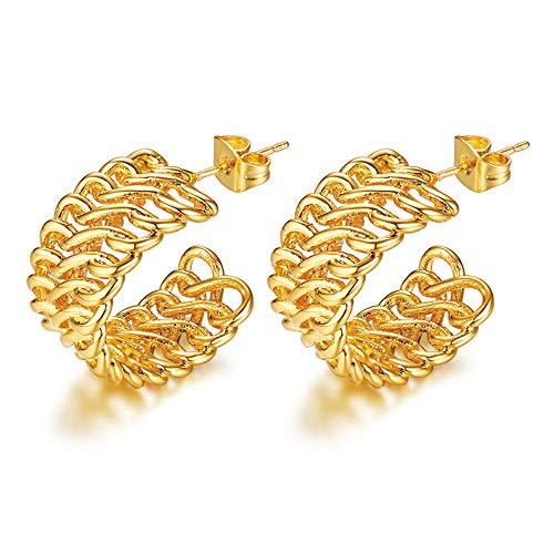 Gold Tone oorbellen voor vrouwen, Trendy Infinity Chain halve cirkel Ronde Dangle Studs Earring voor Party Gift van de Verjaardag
