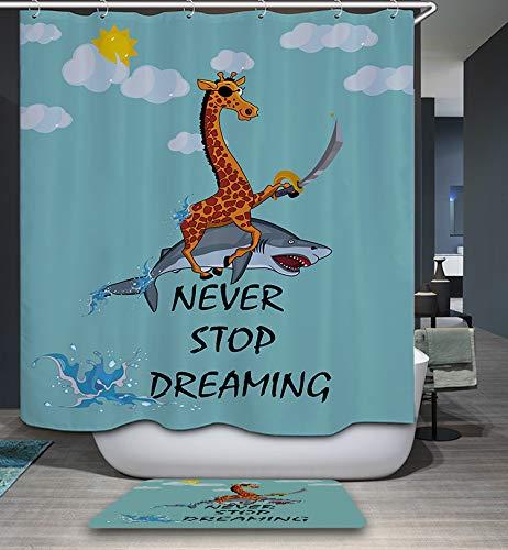 GoJeek Giraffe Riding Shark Shower Curtain, Funny Cute Cartoon Blue Backdrop Pirate Giraffe with Sword Riding Shark Bathroom Decor