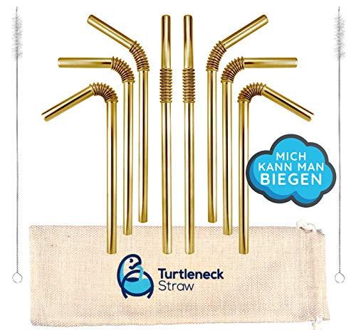 StrawBros | L'UNICA 𝗣𝗜𝗘𝗚𝗛𝗘𝗩𝗢𝗟𝗘 cannuccia in acciaio inox oro | Brevettata e certificata per l'igiene | Cannuccia in metallo, cannucce per bere in acciaio inossidabile