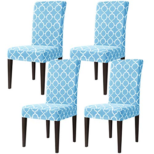 Subrtex - Juego de Fundas elásticas para sillas de Comedor (4 Unidades), Color Azul